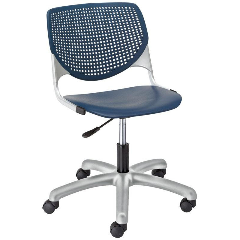 ... Our TK2300 KOOL Series Poly Armless Task Chair With Perforated Back And  Silver Frame   Navy ...