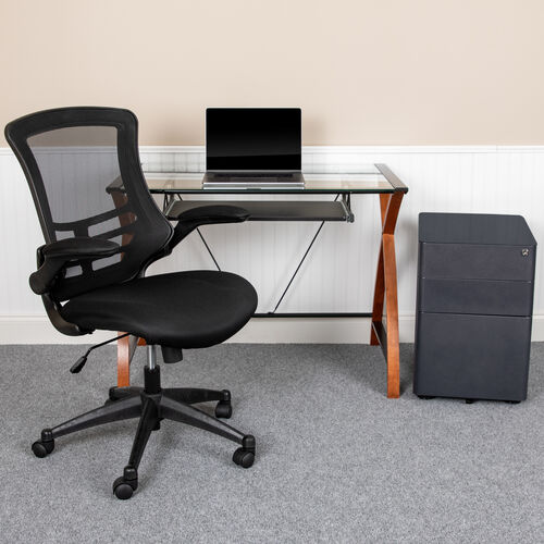 Our Work From Home Kit - Glass Desk with Keyboard Tray, Ergonomic Mesh Office Chair and Filing Cabinet with Lock & Side Handles is on sale now.