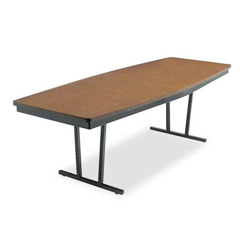 Our Barricks Manufacturing Company Economy Conference Folding Table - Boat - 96w x 36d x 30h - Walnut/Black is on sale now.