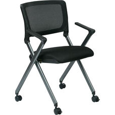 Work Smart Nesting Folding Chair with Screen Back and Padded Seat - Set of 2 - Black With Titanium Finish Frame