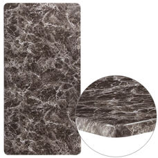 "30"" x 60"" Rectangular Gray Marble Laminate Table Top"