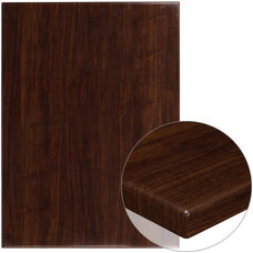 "30"" x 42"" Rectangular High-Gloss Walnut Resin Table Top with 2"" Thick Edge"