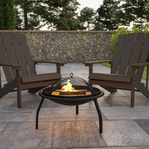 "22.5"" Foldable Wood Burning Firepit with Mesh Spark Screen and Poker"