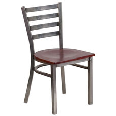 Clear Coated Ladder Back Metal Restaurant Chair with Mahogany Wood Seat
