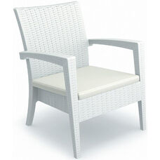 Miami Outdoor Wickerlook Resin Club Arm Chair - White