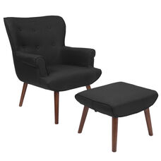 Bayton Upholstered Wingback Chair with Ottoman in Black Fabric