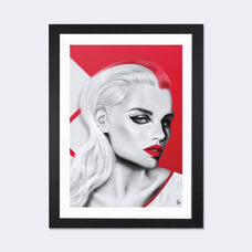 Cherry by Giulio Rossi Artwork on Fine Art Paper with Black Matte Hardwood Frame - 16