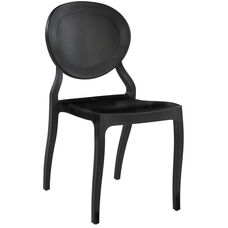 Emma Resin Polypropylene Stackable Event Chair - Set of 4 - Black