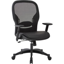 Space Professional Breathable Mesh Back Office Chair with Bonded Leather Seat