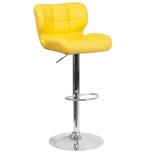 Contemporary Tufted Yellow Vinyl Adjustable Height Barstool with Chrome Base