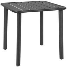 Vista Outdoor Square Aluminum Table with Umbrella Hole - Black