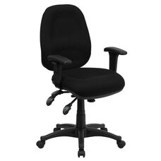 Mid-Back Black Fabric Multifunction Executive Swivel Chair with Adjustable Arms