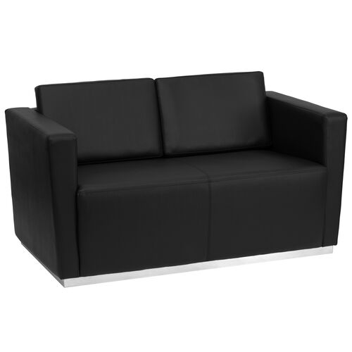 Our HERCULES Trinity Series Contemporary Black LeatherSoft Loveseat with Stainless Steel Base is on sale now.