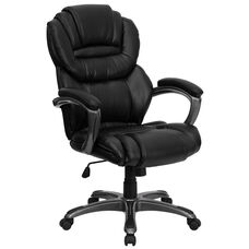 High Back Black Leather Executive Swivel Ergonomic Office Chair with Arms