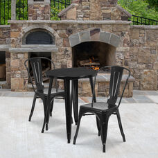 "Commercial Grade 24"" Round Black Metal Indoor-Outdoor Table Set with 2 Cafe Chairs"