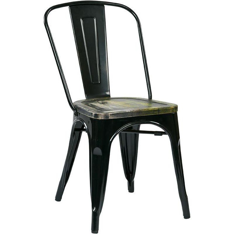 ... Our OSP Designs Bristow Metal Chair With Wood Seat   4 Pack   Black And  ...
