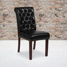 HERCULES Series Black LeatherSoft Parsons Chair with Rolled Back, Accent Nail Trim and Walnut Finish