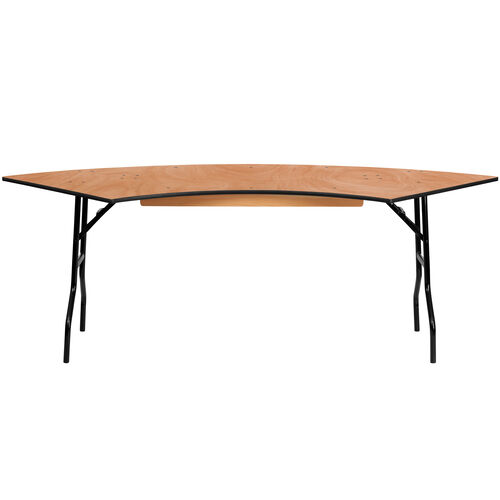 Our 7.25 ft. x 2.5 ft. Serpentine Wood Folding Banquet Table is on sale now.