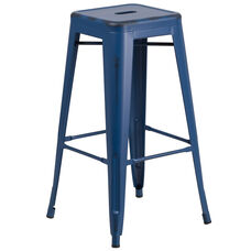 """Commercial Grade 30"""" High Backless Distressed Antique Blue Metal Indoor-Outdoor Barstool"""