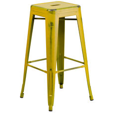 """Commercial Grade 30"""" High Backless Distressed Yellow Metal Indoor-Outdoor Barstool"""