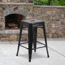 "Commercial Grade 24"" High Backless Black Metal Indoor-Outdoor Counter Height Stool with Square Seat"