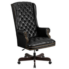 High Back Traditional Tufted Black Leather Executive Swivel Chair with Arms