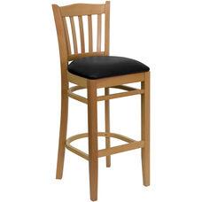 Natural Wood Finished Vertical Slat Back Wooden Restaurant Barstool with Black Vinyl Seat