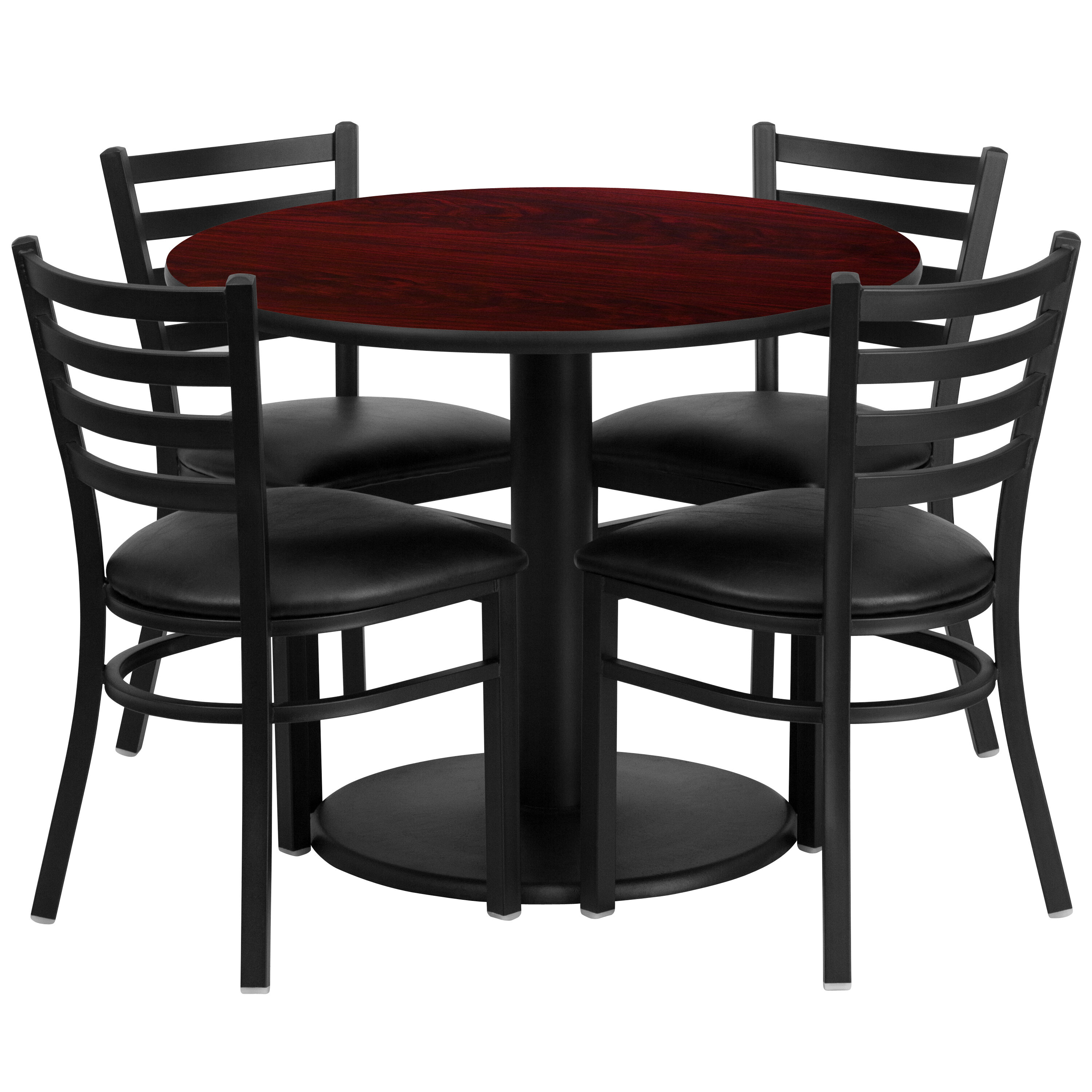 Merveilleux 36u0027u0027 Round Mahogany Laminate Table Set With Ladder Back Metal Chair And  Black Vinyl Seat, Seats 4