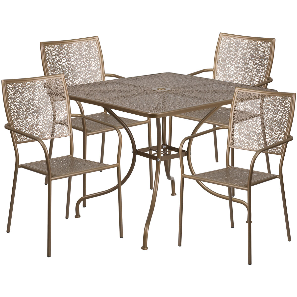 Furniture For Less Miami: Flash Furniture 35.5'' Square Gold Indoor-Outdoor Steel