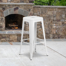 "Commercial Grade 30"" High Backless White Metal Indoor-Outdoor Barstool with Square Seat"