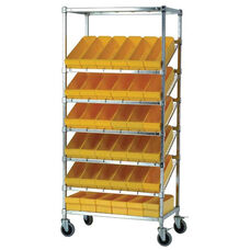 Stationary Slanted Wire Shelving with 24 Euro Drawers - Yellow