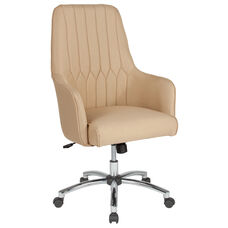 Albi Home and Office Upholstered High Back Chair in Beige Fabric