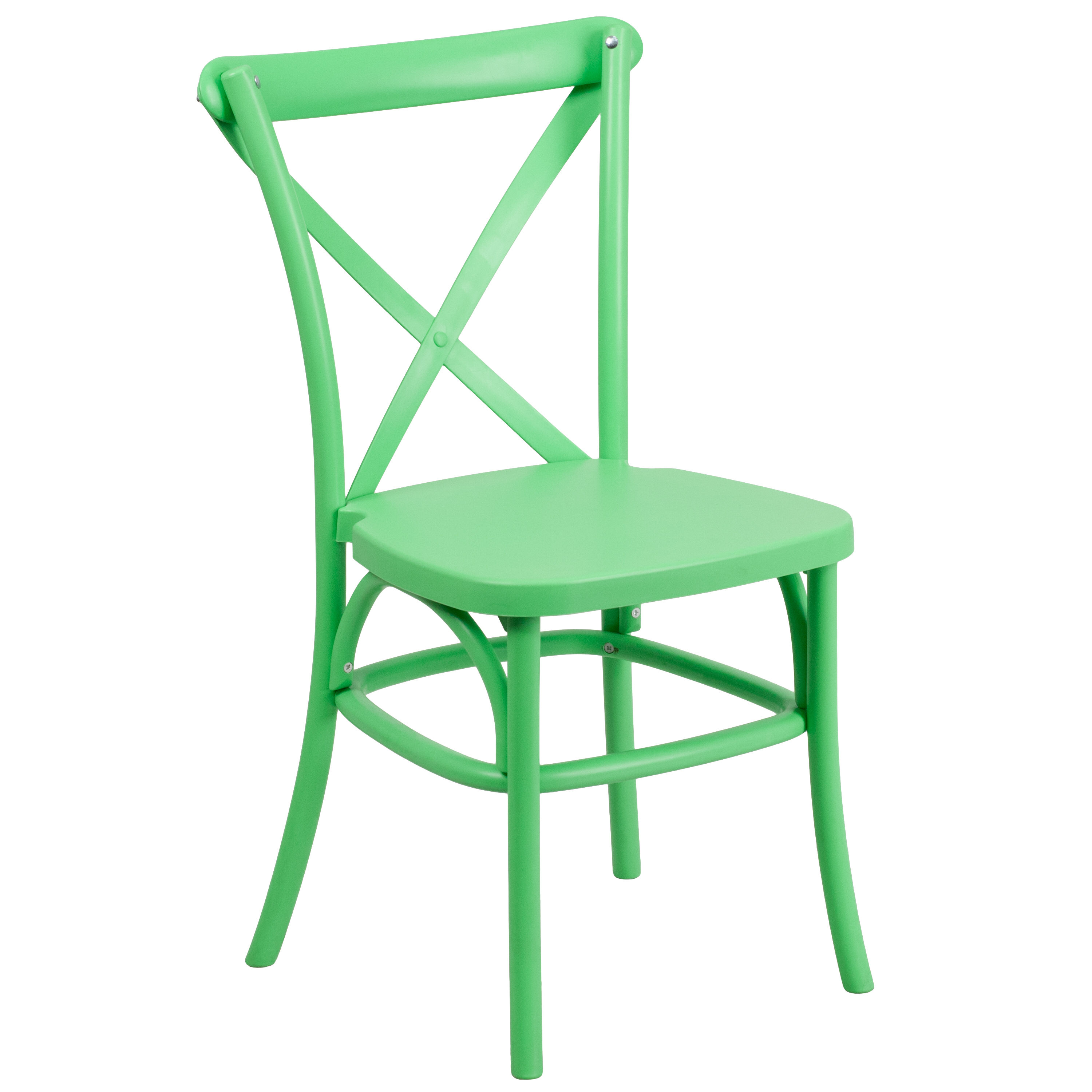 ... Our HERCULES Series Green Resin Indoor Outdoor Cross Back Chair With  Steel Inner Leg Is ...