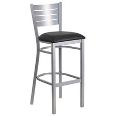 Silver Slat Back Metal Restaurant Barstool with Black Vinyl Seat