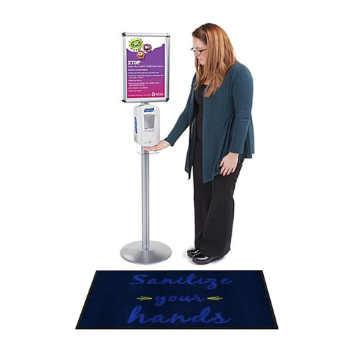 """Our """"Sanitize Your Hands"""" Message Floor Mat - 24""""W x 35""""D is on sale now."""