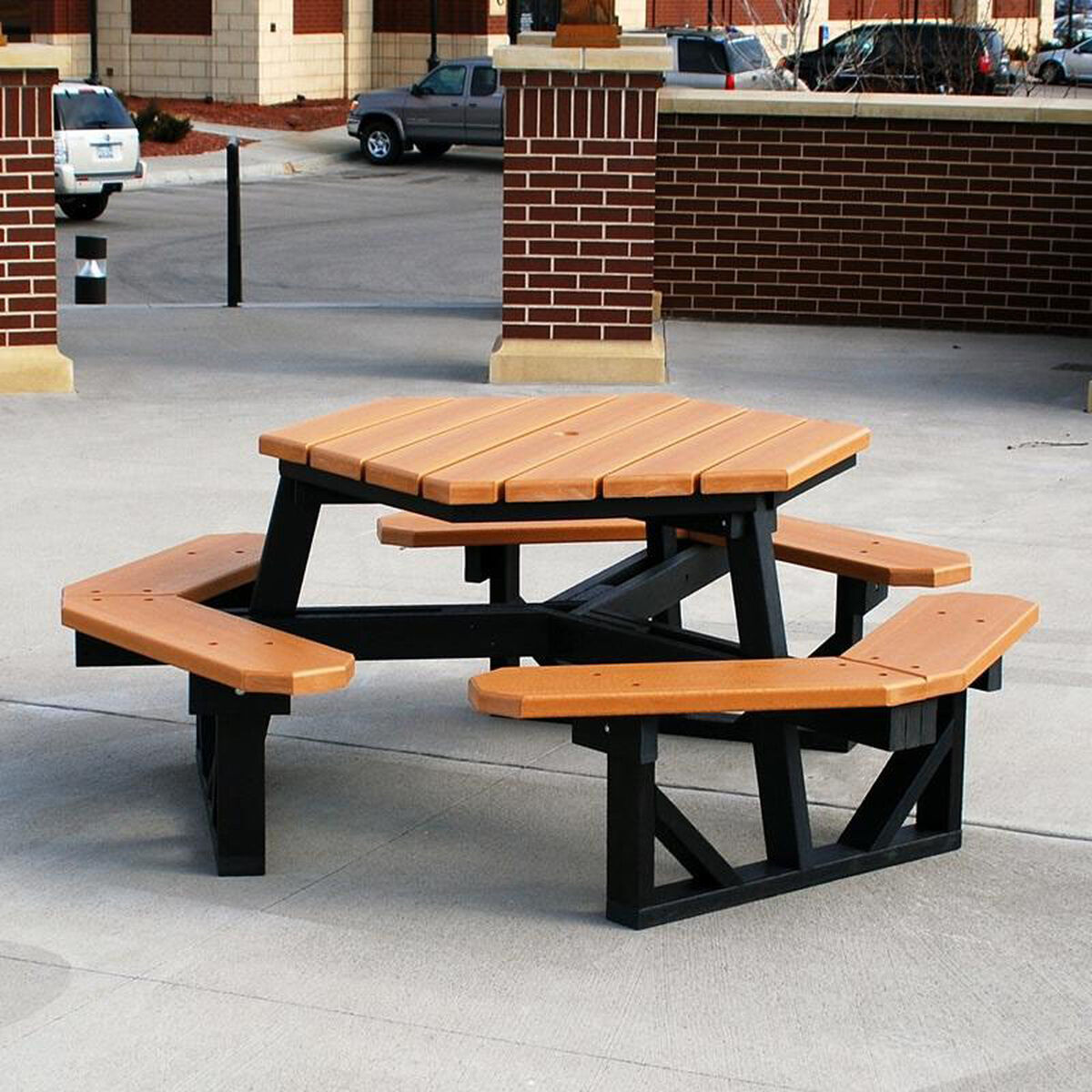 Recycled Plastic Hex Table PBHEXCED RestaurantFurnitureLesscom - Long picnic table for sale
