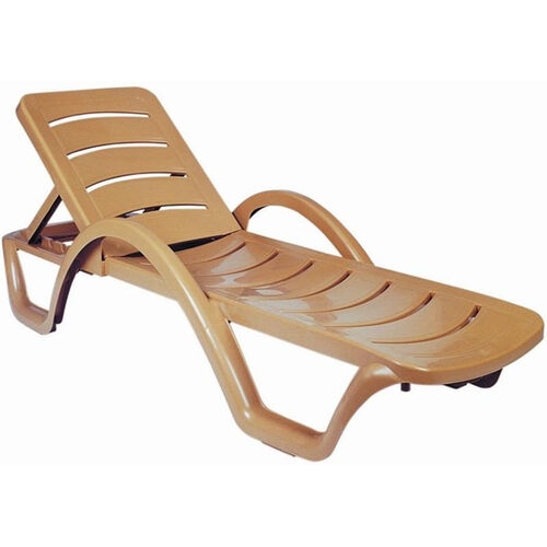 Sunrise Resin Pool Chaise Lounge with Arms and Hidden Wheels - Teak Brown