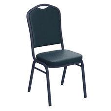 Embroidered E-Z Sierra Royal Vinyl Upholstered Crown Back Banquet Chair - Silver Vein Frame