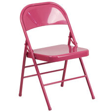 HERCULES COLORBURST Series Shockingly Fuchsia Triple Braced & Double Hinged Metal Folding Chair