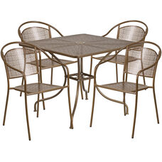 "Commercial Grade 35.5"" Square Gold Indoor-Outdoor Steel Patio Table Set with 4 Round Back Chairs"