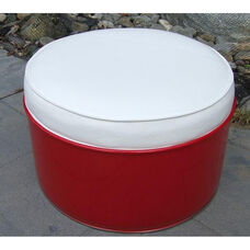 SS 396 Steel Drum Ottoman with White Accents