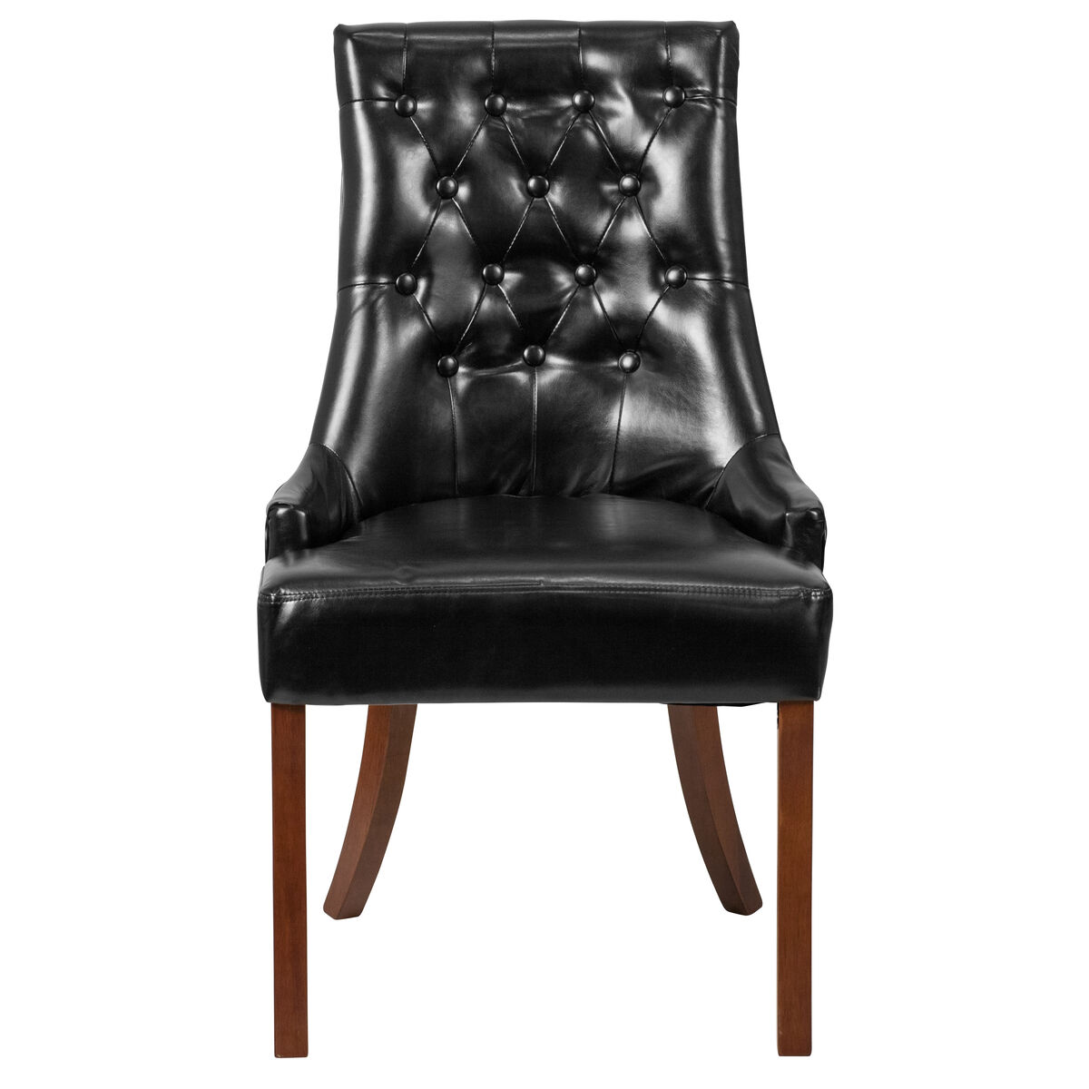 Black Leather Tufted Chair Qy A08 Bk Gg