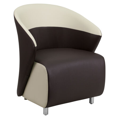 Our Dark Brown Leather Curved Barrel Back Lounge Chair with Beige Detailing is on sale now.