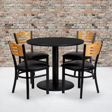 36'' Round Black Laminate Table Set with Wood Slat Back Metal Chair and Black Vinyl Seat, Seats 4