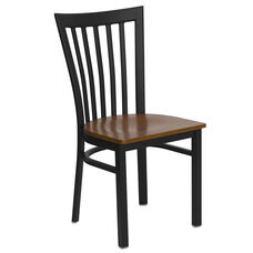 Black School House Back Metal Restaurant Chair with Cherry Wood Seat