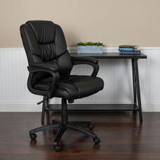 Basics Big & Tall 400 lb. Rated LeatherSoft Swivel Office Chair with Padded Arms, Black, BIFMA Certified