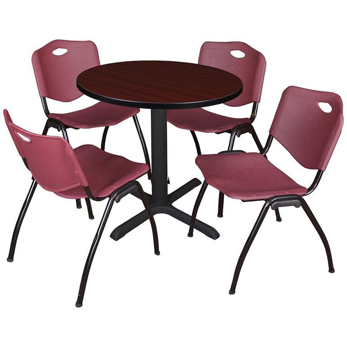 Round Table And Stack Chair Set Tb30rndmh47by