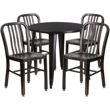 "Commercial Grade 30"" Round Black-Antique Gold Metal Indoor-Outdoor Table Set with 4 Vertical Slat Back Chairs"