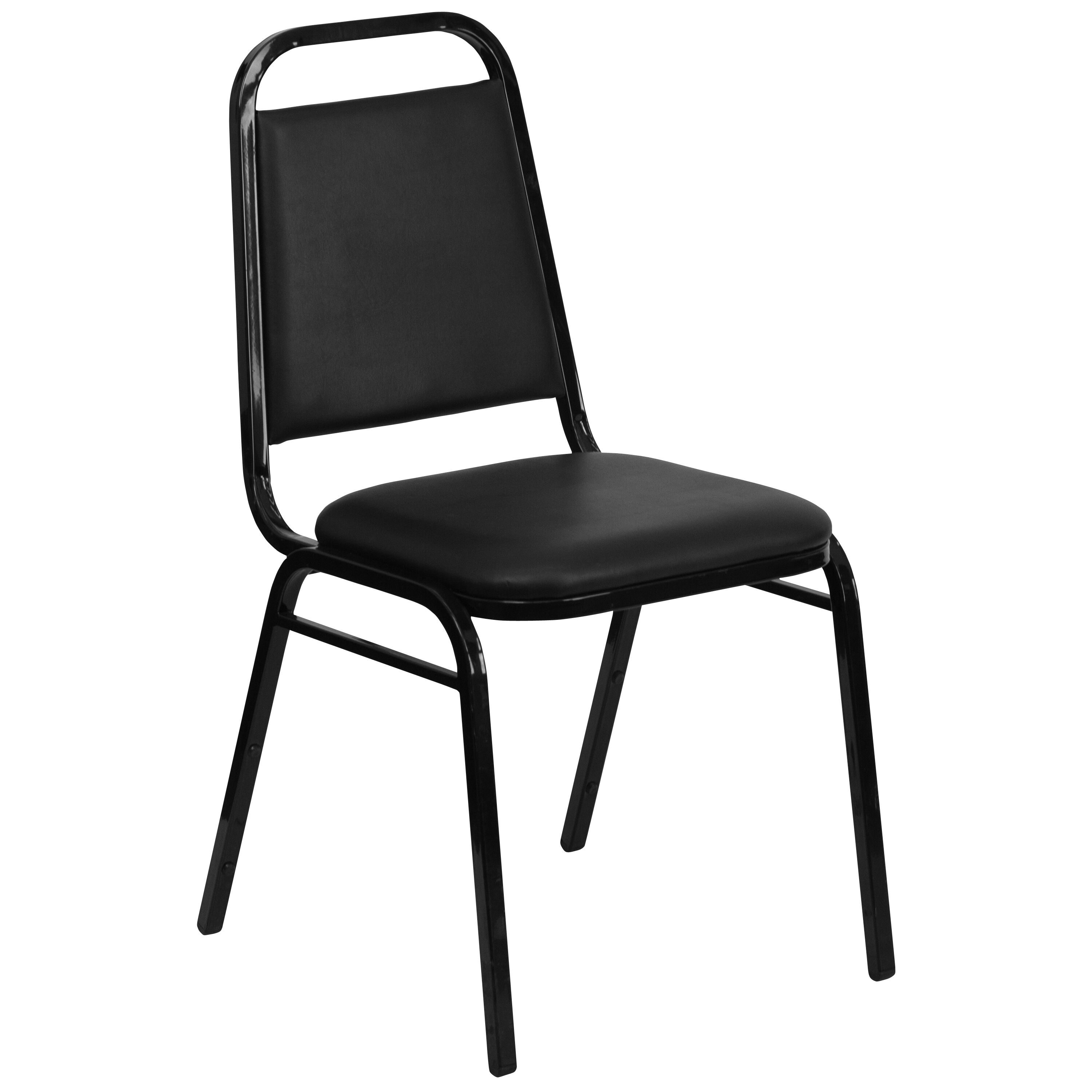 Merveilleux HERCULES Series Trapezoidal Back Stacking Banquet Chair In Black Vinyl    Black Frame