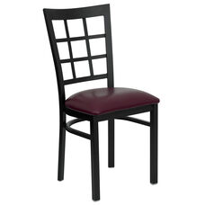 Black Window Back Metal Restaurant Chair with Burgundy Vinyl Seat